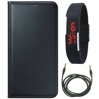 Redmi 4A Flip Cover with Digital Watch and AUX Cable
