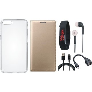 K6 Power Stylish Leather Flip Cover with Silicon Back Cover, Digital Watch, Earphones, OTG Cable and USB Cable