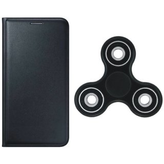Redmi 4A Stylish Leather Cover with Spinner, Free Silicon Back Cover