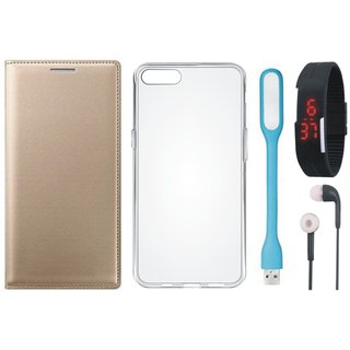 Redmi 4A Stylish Leather Flip Cover with Silicon Back Cover, Digital Watch, Earphones and USB LED Light