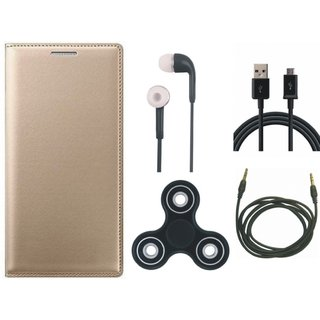 Redmi 4A Premium Leather Cover with Spinner, Earphones, USB Cable and AUX Cable by Vivacious