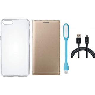 K6 Power Stylish Leather Flip Cover with Silicon Back Cover, USB LED Light and USB Cable