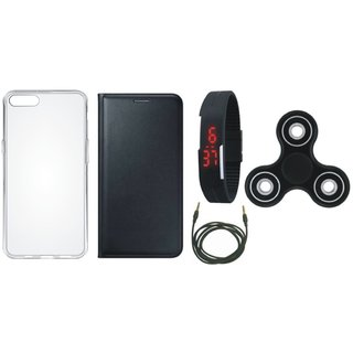 K6 Power Premium Leather Case with Spinner, Silicon Back Cover, Digital Watch and AUX Cable by Vivacious