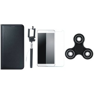 K6 Power Premium Leather Case with Free Spinner, Selfie Stick and Tempered Glass by Vivacious