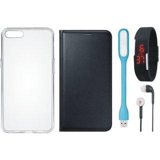 K6 Power Stylish Leather Flip Cover with Silicon Back Cover, Digital Watch, Earphones and USB LED Light by Vivacious