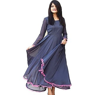 Raabta Fashion Navy Pom Pom Indo western Long Dress
