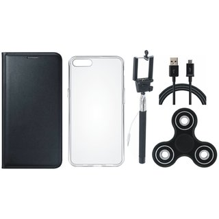 Redmi Y1 Premium Leather Case with Spinner, Silicon Back Cover, Selfie Stick and USB Cable by Vivacious