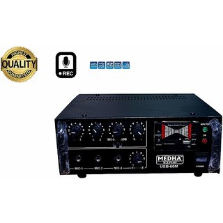 MEDHA PROFESSIONAL RECORDING 60 WATT P.A. AMPLIFIER 3 MICROPHONES 1 AUX AND 1 USB INPUT