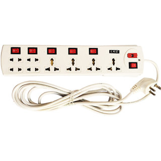 EXTENSION CORD LKC POWER STRIP 15 AMP MULTIPLUG 4 Yard Wire 8 Socket With 6 Switch