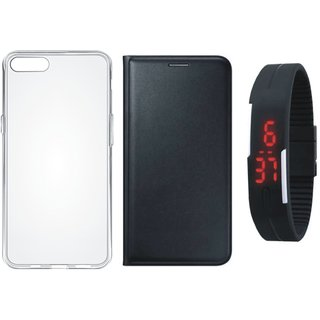 Oppo F3 Leather Flip Cover with Silicon Back Cover, Digital Watch