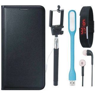 Oppo F3 Leather Flip Cover with Selfie Stick, Digtal Watch, Earphones and USB LED Light