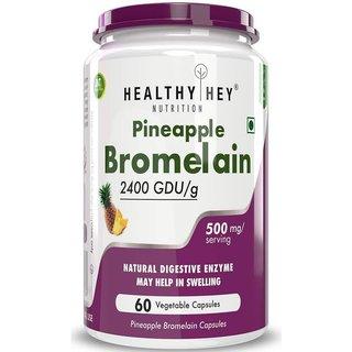 HealthyHey Bromelain Digestive Enzyme- High Concentrate  2400 GDU/g  500 mg  60 Veg. Capsules