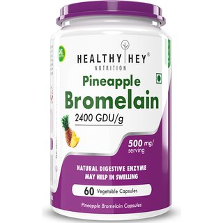 HealthyHey Bromelain Digestive Enzyme- High Concentrate  2400 GDU/g  500 mg  60 Veg. Capsules