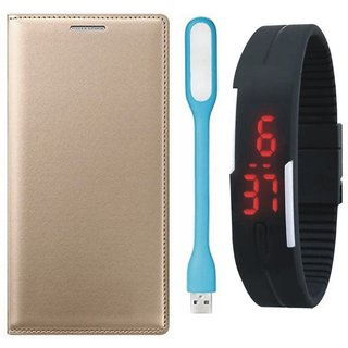 Oppo F3 Leather Flip Cover with Digital Watch and USB LED Light by Vivacious