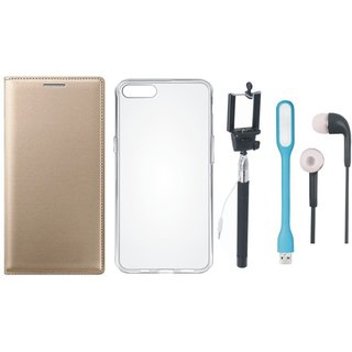 Oppo F3 Stylish Leather Flip Cover with Silicon Back Cover, Selfie Stick, Earphones and USB LED Light