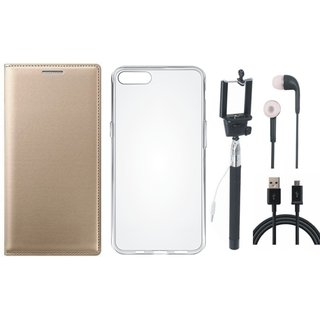 Oppo F3 Stylish Leather Flip Cover with Silicon Back Cover, Selfie Stick, Earphones and USB Cable