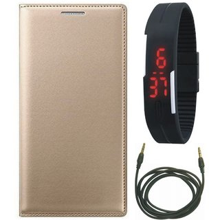 Oppo F3 Leather Flip Cover with Digital Watch and AUX Cable by Vivacious