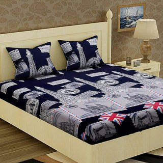 kr  London Tower MonT Double Bedsheet with Two Full Size Pillow Cover Pack of 1