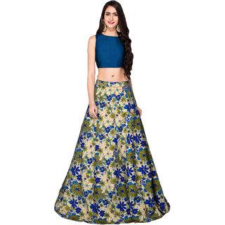 Active Womens Bansi Blue Banglori Silk Printed Semi-Stitched Lehenga Choli (Free Size)