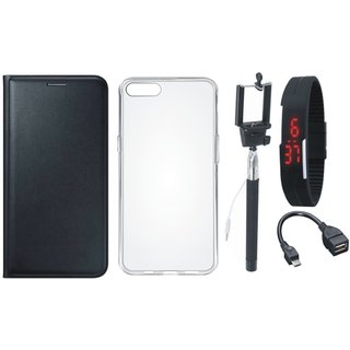 Oppo F3 Flip Cover with Silicon Back Cover, Selfie Stick, Digtal Watch and OTG Cable