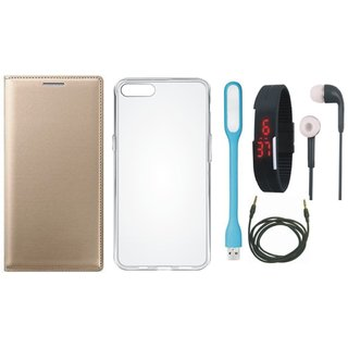 Oppo F3 Leather Flip Cover with Silicon Back Cover, Digital Watch, Earphones, USB LED Light and AUX Cable by Vivacious