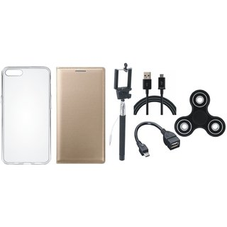 Oppo F3 Premium Leather Cover with Spinner, Silicon Back Cover, Selfie Stick, OTG Cable and USB Cable by Vivacious