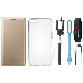 Oppo F3 Leather Flip Cover with Silicon Back Cover, Selfie Stick, Digtal Watch, Earphones and USB LED Light by Vivacious