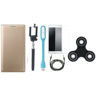 Oppo F3 Premium Leather Cover with Free Spinner, Selfie Stick, Tempered Glass, LED Light and AUX Cable by Vivacious
