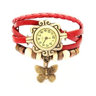 Vintage Round Dialer Red Leather Analog Watch For Woman