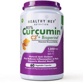 HealthyHey Nutrition Curcumin With Bioperine 1300Mg (Ultra Pure) Organic Turmeric, 60 Vegetable Caps With Piperine