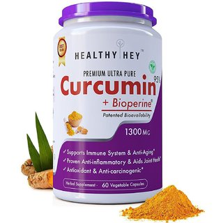 HealthyHey Nutrition Curcumin With Bioperine 1300Mg (Ultra Pure) Organic Turmeric 60 Vegetable Caps With Piperine