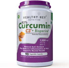 HealthyHey Nutrition Curcumin with Bioperine 1300mg (Ultra Pure)  Organic Turmeric, 90 Vegetable Capsules with Piperine