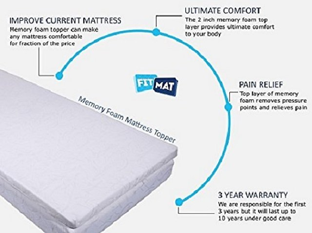 FITMAT Pain Relief Orthopedic Support Double Bed Responsive Memory Foam  Mattress Protector with Zip Cover 72x78x2 Inch