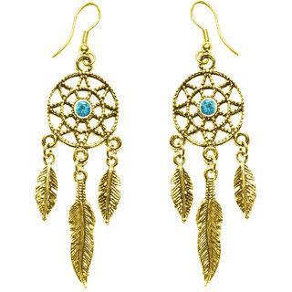 Cemaya Designer Dream catcher earrings for women and Girls(Gold-Blue)