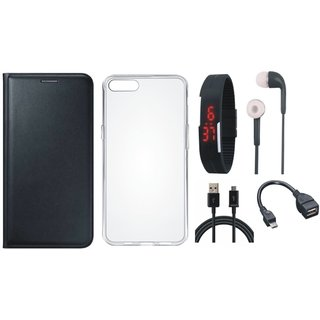 Oppo F3 Plus Flip Cover with Silicon Back Cover, Digital Watch, Earphones, OTG Cable and USB Cable