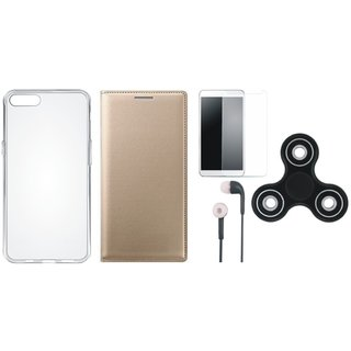 Oppo F3 Plus Premium Leather Cover with Spinner, Silicon Back Cover, Earphones and Tempered Glass by Vivacious