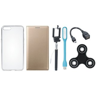 Oppo F3 Plus Premium Leather Cover with Spinner, Silicon Back Cover, Selfie Stick, LED Light and OTG Cable by Vivacious