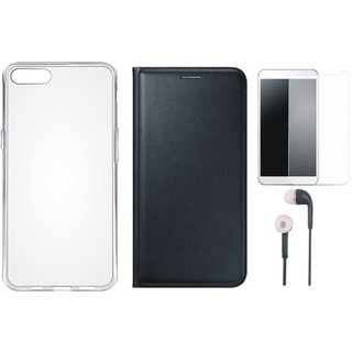 Oppo F3 Plus Flip Cover with Silicon Back Cover, Tempered Glass and Earphones