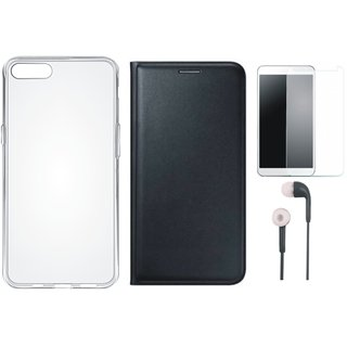 Oppo F3 Plus Flip Cover with Silicon Back Cover, Earphones and Tempered Glass