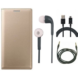 Oppo F3 Plus Leather Flip Cover with Earphones, USB Cable and AUX Cable by Vivacious