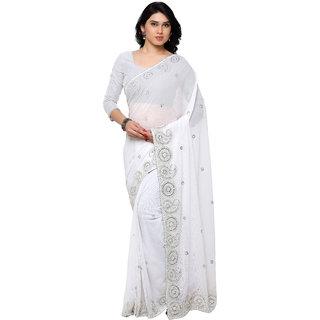 Aruna Sarees Chiffon Fabric Embroidered Work Designer saree With Blouse Piece