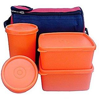 AK Topware Plastic Lunch Box - Orange (2 Containers 1 Glass 1 Pickle Container)