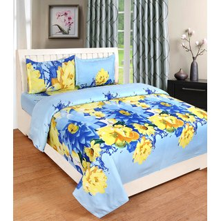 BSB Trendz 3D Printed Double Bedsheet Soft Like Cotton With 2 Pillow Covers Seze-90x90