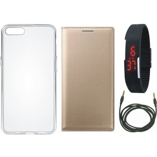 Oppo F3 Plus Premium Quality Leather Cover with Silicon Back Cover, Digital Watch and AUX Cable by Vivacious