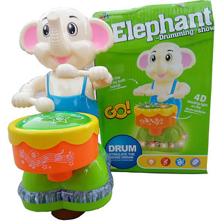 OH BABY, BABY 3D LIGHT  MUSICAL POWER WITH AUTOMATIC SENSOR OPPO ELEPHANT GREEN COLOR TOYS FOR YOUR KIDS SE-ET-10