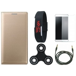 Vivo Y55 Sleek Leather Cover with Free Spinner, Digital LED Watch, Tempered Glass and AUX Cable