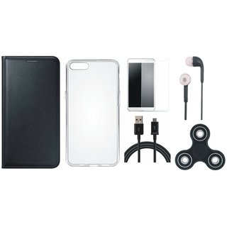 Vivo Y55 Premium Leather Cover with Spinner, Silicon Back Cover, Tempered Glass, Earphones and USB Cable