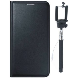 Vivo Y55 Premium Quality Leather Cover with Free Silicon Back Cover and Selfie Stick