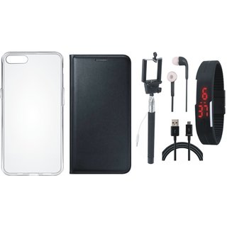 Vivo Y55 Leather Flip Cover with Silicon Back Cover, Selfie Stick, Digtal Watch, Earphones and USB Cable