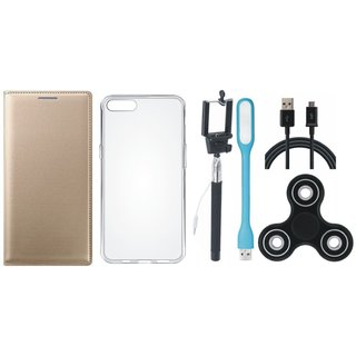 Vivo Y55 Sleek Leather Cover with Spinner, Silicon Back Cover, Selfie Stick, USB LED Light and USB Cable
